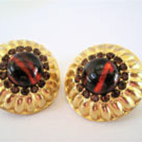 Graziano Signed Earrings, Vintage Glass Topaz Cabachon, Designer Clip Ons