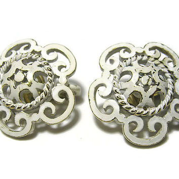 White Enameled Filigree Vintage Earrings Clip on Gold Tone Crown Trifari Womens Mid Century Jewelry
