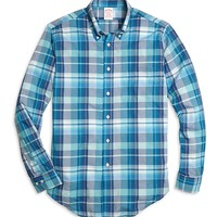 Madison Fit Blue Madras Sport Shirt - Brooks Brothers