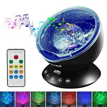Ocean Wave Projector Night Light with Built-in Mini Relaxing Music Speaker and Remote Control 12 LED &7 Colors Changing Modes for Kids Adult Living Room and Bedroom (Black)