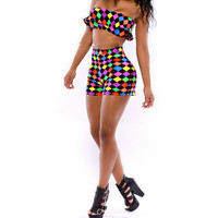 Multi Color Geometric Print Cropped Top and Shorts Set
