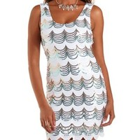 White Combo Scalloped Sequin Bodycon Dress by Charlotte Russe