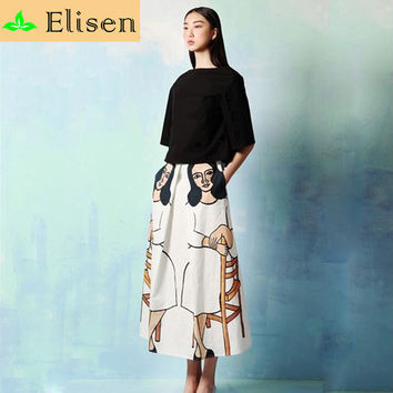 2015 Fashion Summer US And UK Elegant Fashion Brand Women Print Silk Long Dress Women