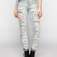 Almost Famous Destructed Womens Suspendered Skinny Jeans Acid Wash  In Sizes