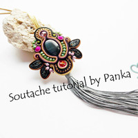 Soutache pendant tutorial. Boho pendant tutorial. Instant Download, how to make jewelry tutorial, pfd instruction, soutache pattern.