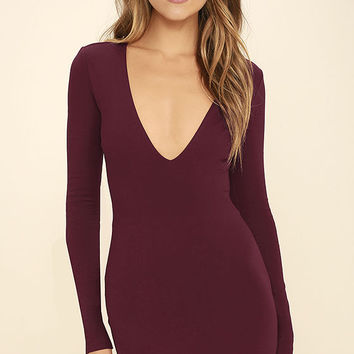 Fun and Fame Burgundy Long Sleeve Bodycon Dress