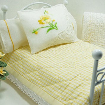 Cottage Chic Quilt Dollhouse Miniature Little Doll Bed Blanket Pillow Cases Matching Decorator Pillows Tiny Inch Scale Yellow Lovely Bedroom