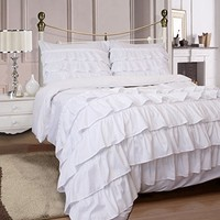 Miley Ruffled 3-Piece Duvet Cover Set Soft Microfiber with Pillow Cases - Pure White (King)