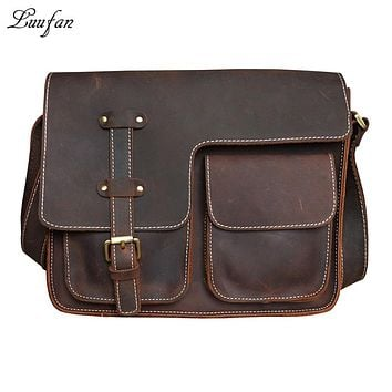 Men's Vintage crazy horse leather messenger bag iPad Genuine leather shoulder bag Leather school bag cowhide cross body bag