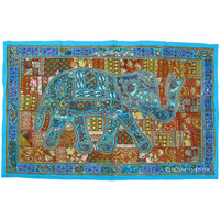 Blue Heavy Beads Work Antique Indian Patchwork Elephant Tapestry Wall Hanging