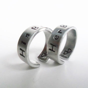 Disney Beauty and the Beast Rings -  His Beauty Her Beast Hand Stamped - A Pair of TWO Friendship Rings - Toy Story Inspired