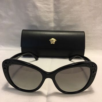 Versace VE4309B GB1/11 57MM Black Cats Eyes Sunglasses Grey Lens New