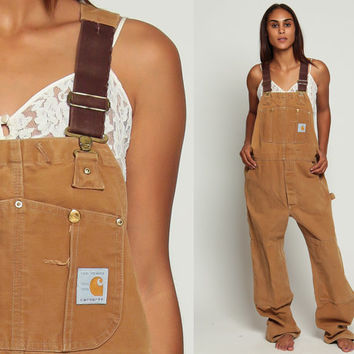Carhartt Overalls Baggy Pants 80s GRUNGE Cargo Dungarees Light Brown Suspender Pants 1980s Long Wide Leg Jeans Vintage Extra Large xl