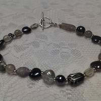 Black and Gray Glass Bead Bracelet