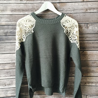Dakota Crochet Inset Sweater (Gray)