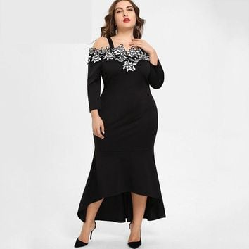 Plus Size Embroidery Crochet Bodycon Mermaid Off the Shoulder Long Maxi Dress