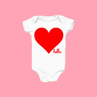 Hello Merch — New Heart (Babies) White One-Piece with snaps