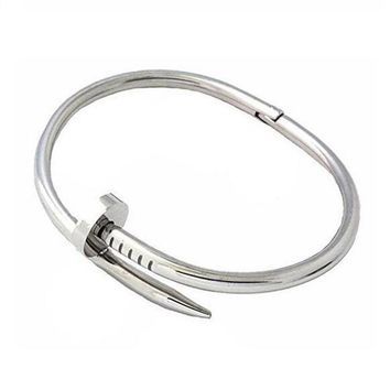 'Nikki Nailed It' Cuff Bangle Bracelet- Silver
