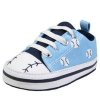 Sport Design Baby Boy Crib Shoes with Faux Elastic Laces by Gerber - Blue - 1 Infant / Up To 3 Mths