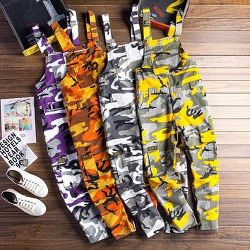 Men Camouflage cargo Jumpsuits male Baggy Camo Overalls Hiphop Suspender harem pants Streetwear Loose stap trousers D81202
