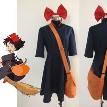 Kiki Delivery Service Cosplay Costume+Bag+Hairband Customize Any Size New woman dress