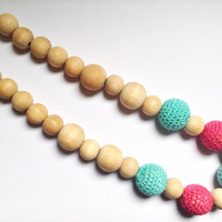 Turquoise and pink teething necklace, Nursing necklace, Baby gift