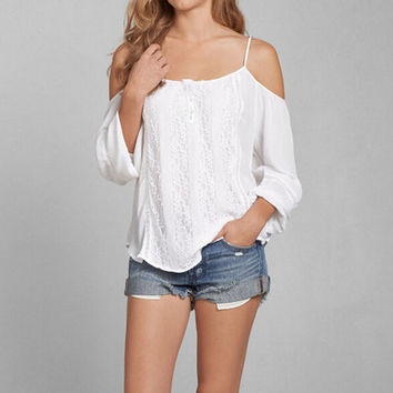 Long Sleeve Strappy Lace Blouse