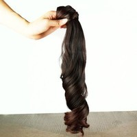 Long Wavy Curly Ponytail Pony Dark Brown Wig Hair Piece Extensions 45cm