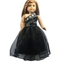Ebuddy Lovely Black One Shoulder Dress Clothes Fits 18 Inch Doll