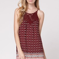 LA Hearts Crochet Bib Babydoll Dress - Womens Dress - Red