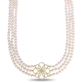 """24""""-26"""" 3 -Strand 7-8mm Freshwater Cultured Off Round Pearl Necklace w/ Silver Yellow Cubic Zirconia Center Pc"""
