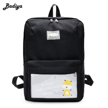Canvas Solid Color Preppy Style USB Charging School Backpack with Cartoon Printed Pencil Bag for Teenagers Girls Women