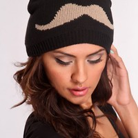 Black Taupe Knit Mustache Beanie Hat