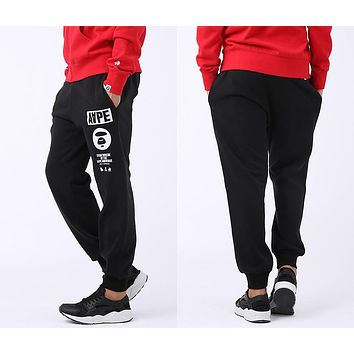 AAPE BAPE Fashion Women Men Casual Print Sport Pants Trousers Sweatpants Black