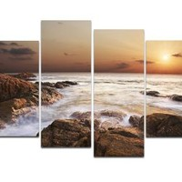 Wieco Art Rocky Shoreline Seascape Canvas Prints Modern Canvas Wall Art for Living Room Decor