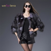 Real Fox Fur Coat Genuine Fox Fur Short Waistcoat Elegant Real Fox Fur Coat Fashion Women Winter Overcoat Warm Jacket Outwear