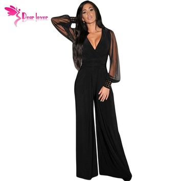 Dear-Lover Long Black Rompers Womens Jumpsuit Winter Party V-neck Embellished Cuffs Mesh Sleeves Loose Club Pants LC6650