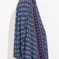 Blue Tribal Print High Waist Skirt