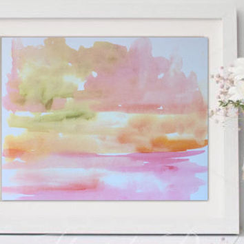 Abstract watercolor landscape mountains, contemporary painting, watercolor painting, Pink Nursery Modern Print