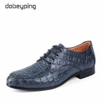 Man Oxfords Shoes 2017 New Fashion Pointed Toe Business Flat Shoes Casual Lace-Up Men's Alligator Leather Shoe Large Size 38-50