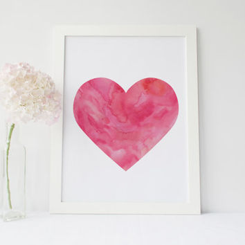 Pink Heart Printable, Home Decor, Watercolor Heart Print, Pink Heart Art, Pink Heart, Heart Wall Art, Girls Room Decor, Printable Wall Art