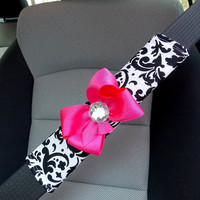 Car Seat Belt Cover Black and White Damask with Bow