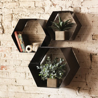 Hexagon Wall Cubbies - Set of 3