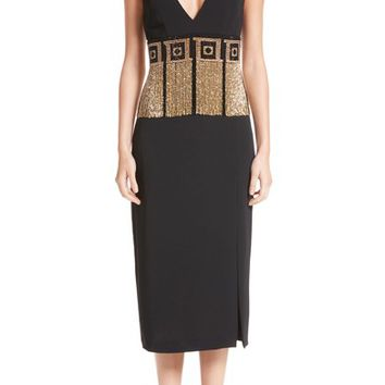 Versace Collection Beaded Fringe Waist Dress | Nordstrom