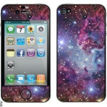 Graphics and More Protective Skin Sticker for Apple iPhone 4/4S - Set of 2 - Non-Retail Packaging - Fox Fur Nebula Galaxy Space