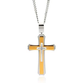 SHIP BY USPS Cross Necklace for Men & Women with Large Pendant and 24 Inch Curb Chain