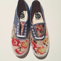 Floral Denim Vans (youth)