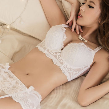 Belle Push-Up Longline Lace Bustier Bra Set (White)