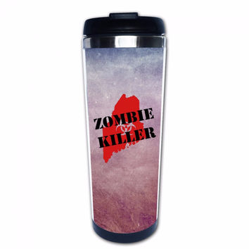 Zombie Killer Custom Unique Coffee Mugs Insulated Portable Travel Mug