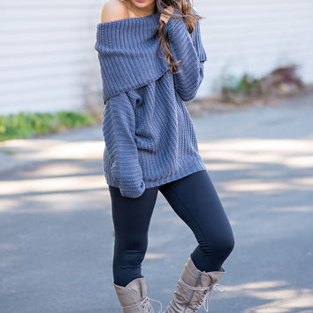 Made To Love Knit Fold Over Oversized Sweater (Charcoal)